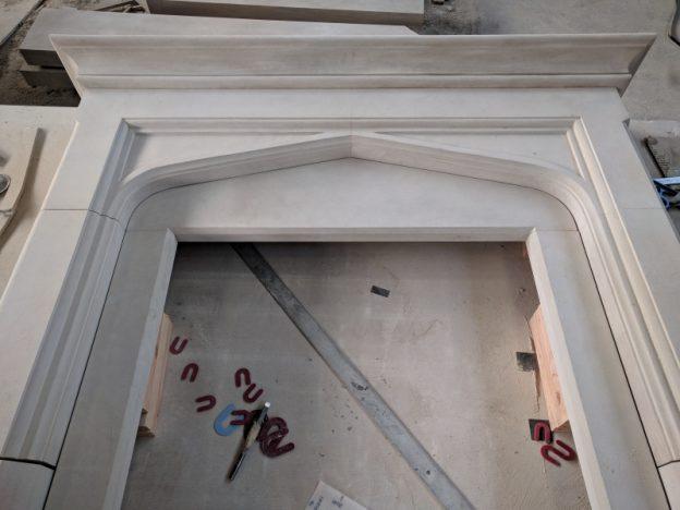 Custom fabricated Limestone Fireplace